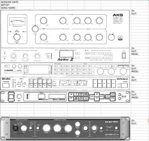 Reverb Rack - Recall Sheet